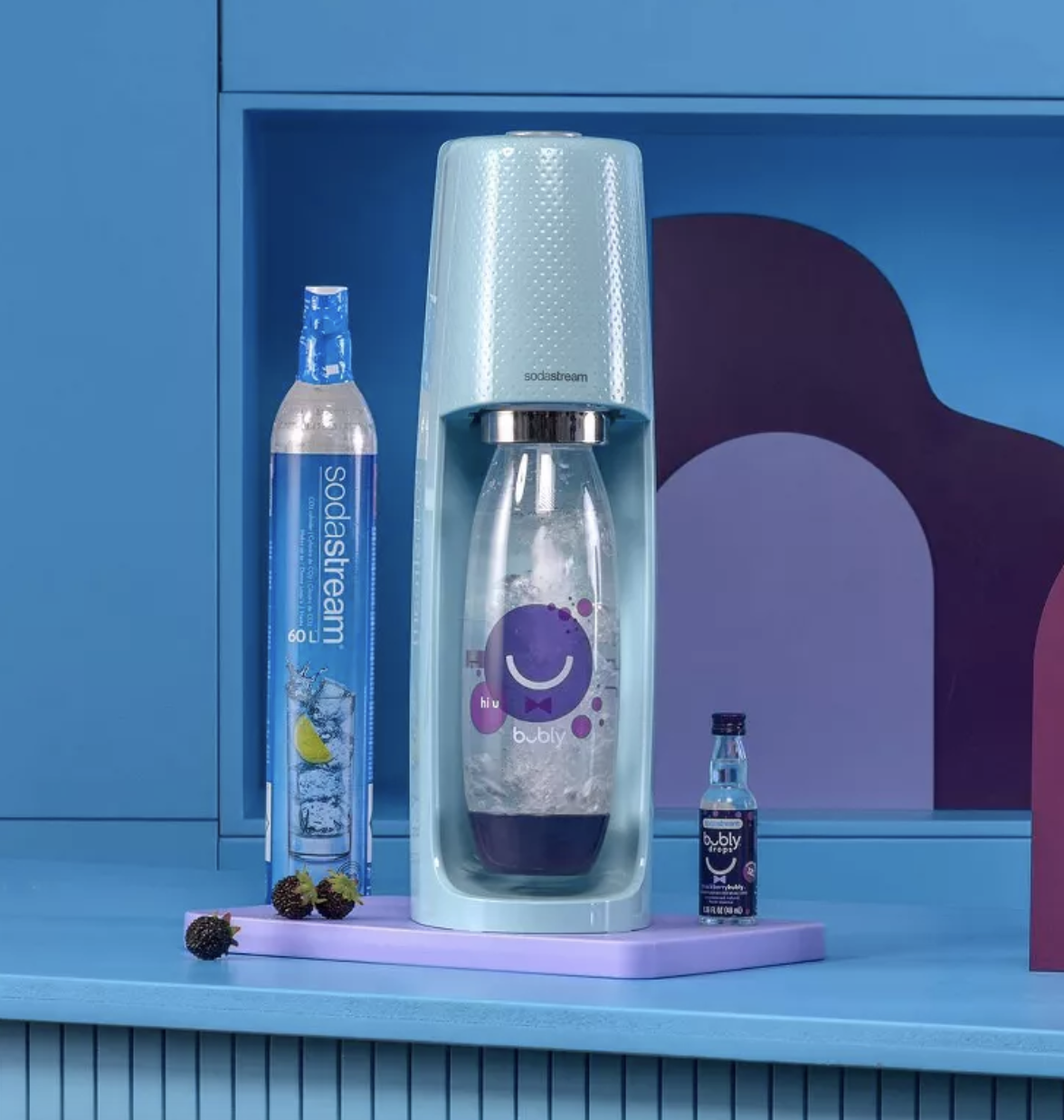 the blue SodaStream