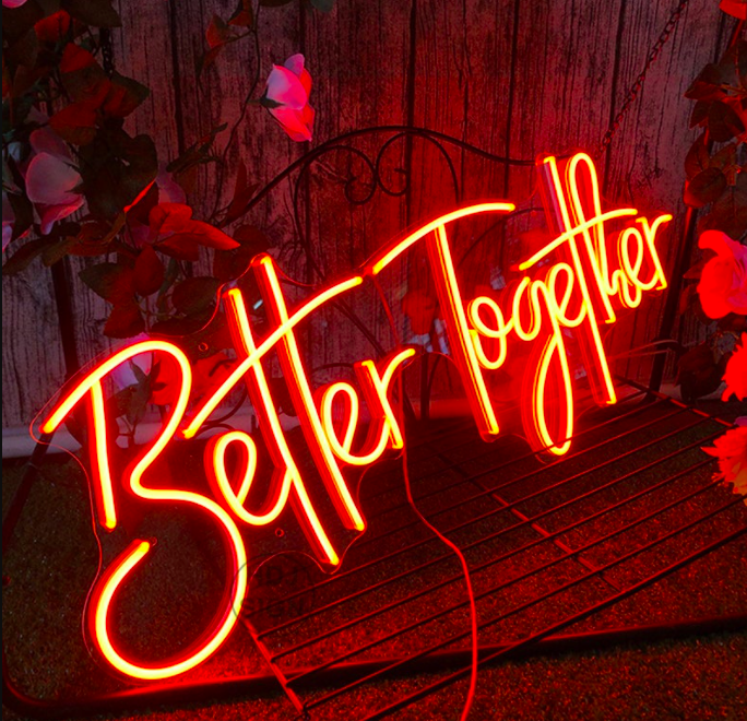 A bright neon light that reads better together