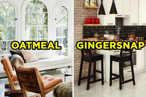 """On the left, a sunroom with a chaise lounge and two chairs near the windows labeled """"oatmeal,"""" and on the right, a kitchen in a city apartment with an exposed brick wall and and counter with two stools next to it labeled """"gingersnap"""""""