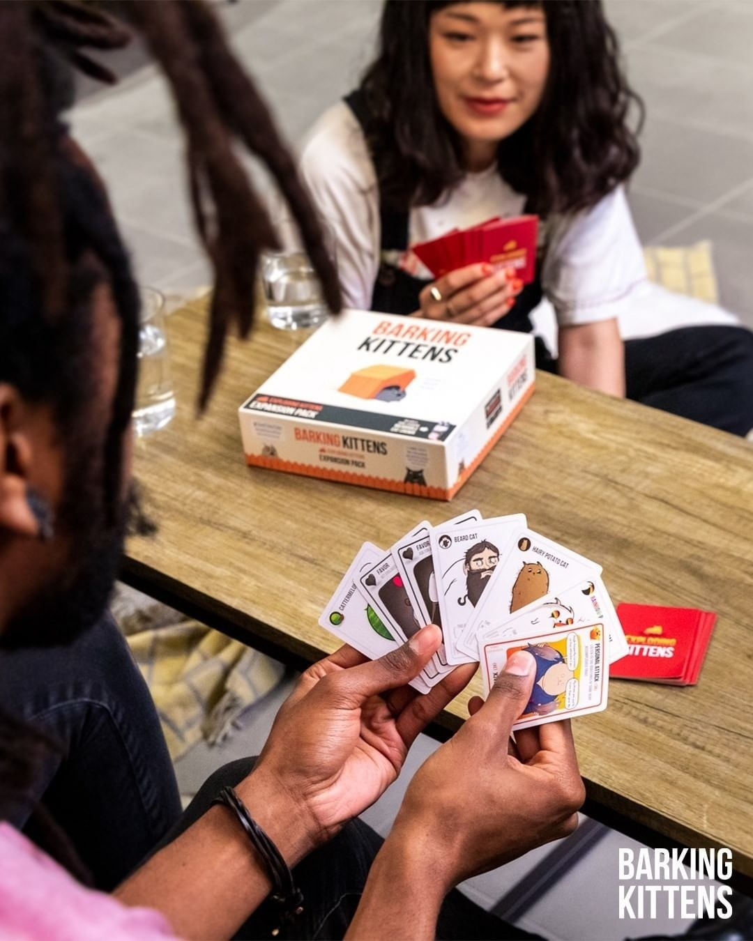 A pair of people playing the expansion pack of exploding kittens
