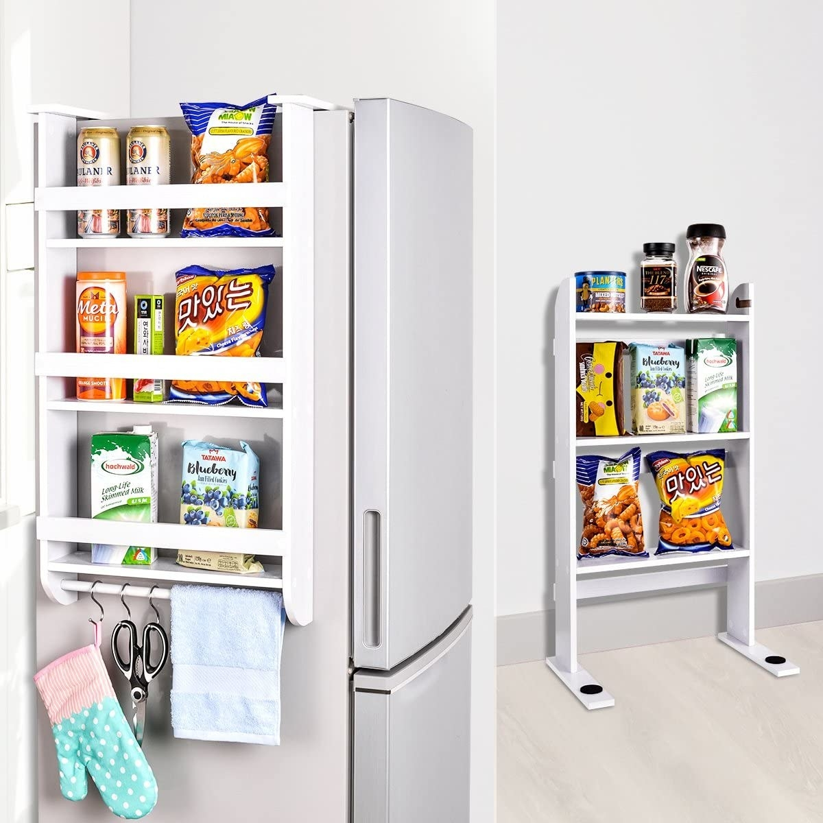 The three-tier unit which can be hung on the side of the fridge or stand on its own