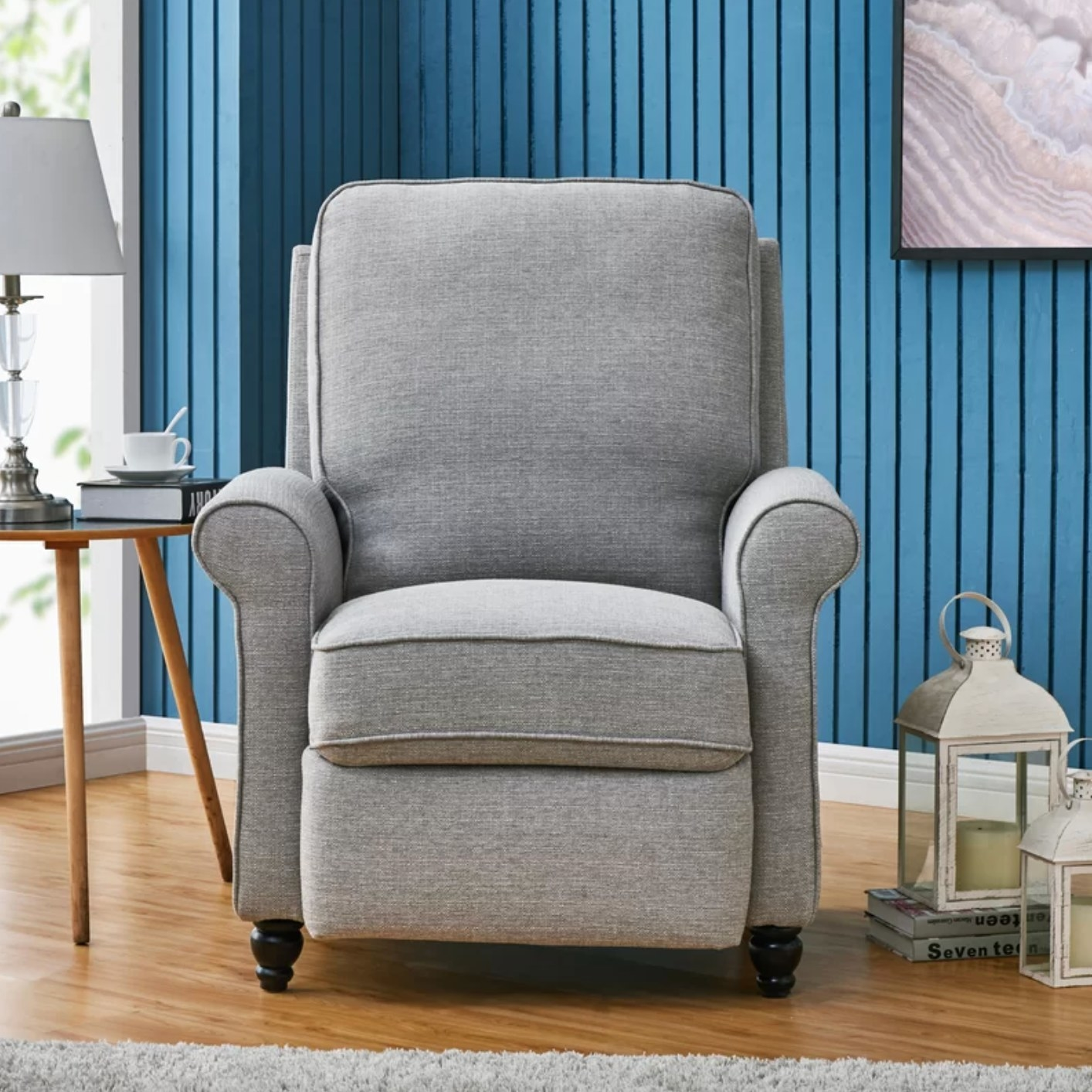 The manual recliner in dove gray polyester