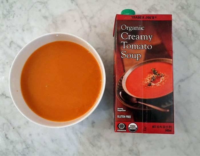A carton of Trader Joe's tomato soup.
