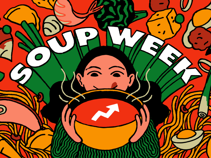 Illustration of someone holding a bowl of soup