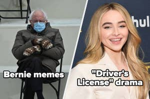 Bernie sitting in a chair at Inauguration in the meme and Sabrina Carpenter on the red carpet with the caption