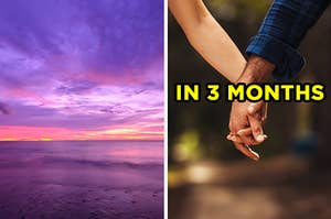 "On the left, a sunset on the beach, and on the right, a couple holding hands labeled ""in 3 months"""