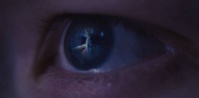A scene from Euphoria being reflected in Jules's eye