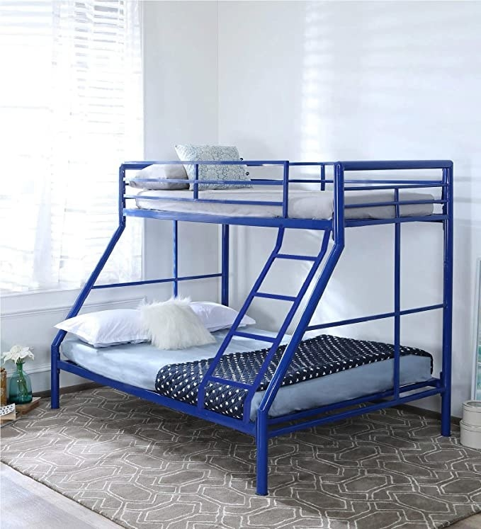 Blue bunk bed.