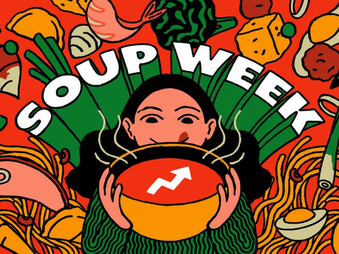 """Person eating soup and the words, """"Soup Week"""""""