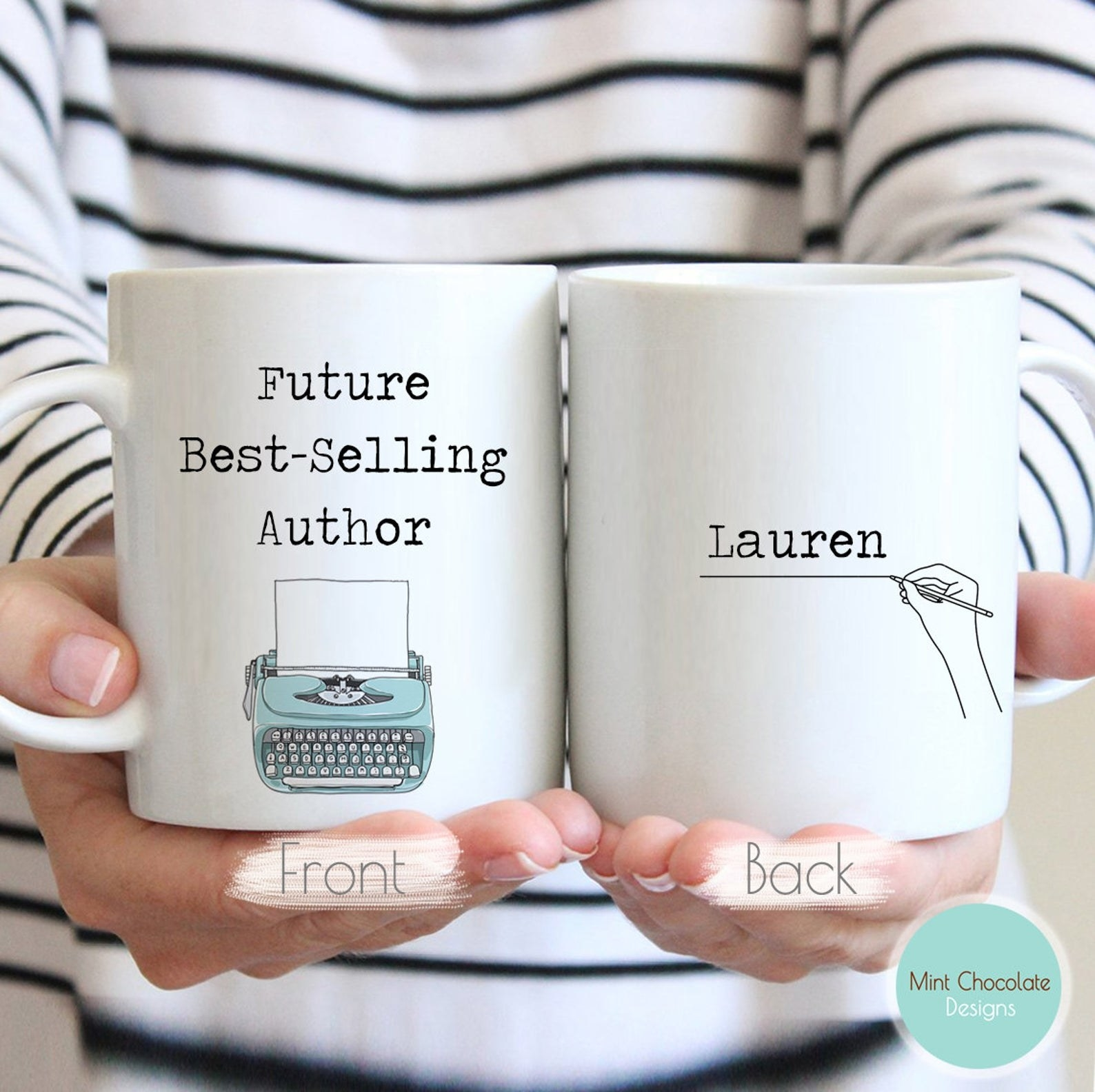 a model holds the front and back of the future best-selling author in both hands