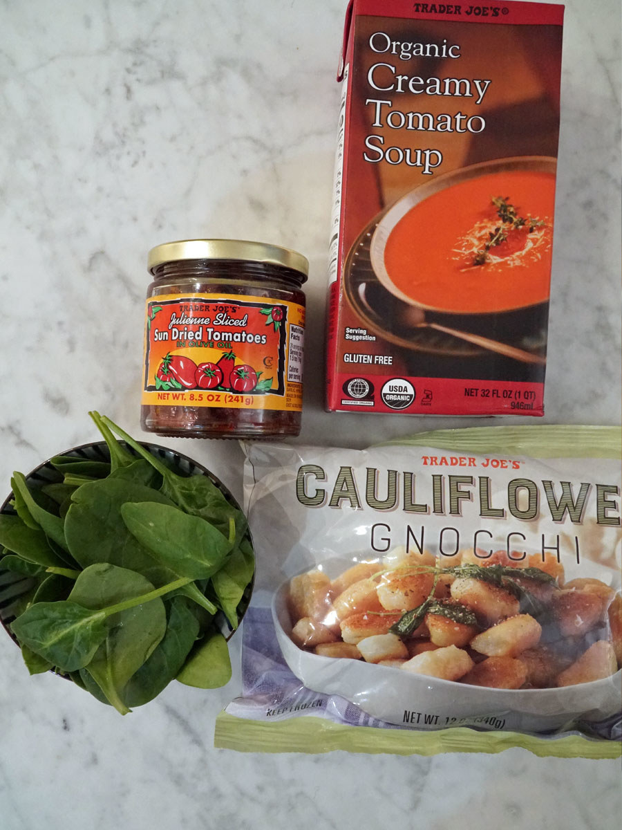 Ingredients for tomato gnocchi soup.