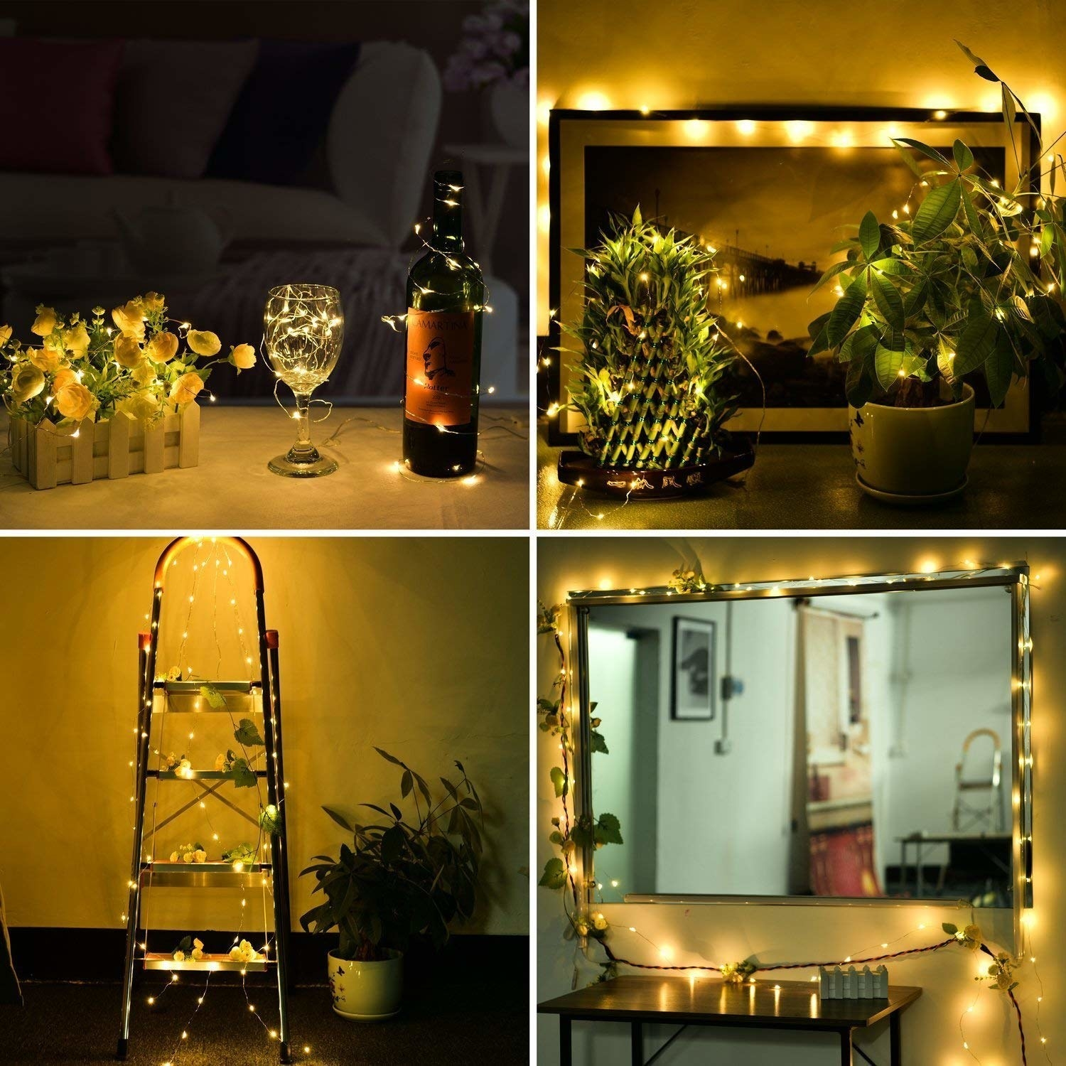 Fairy lights draped over various surfaces - a wine bottle and glass, plants, a ladder, and a mirror.