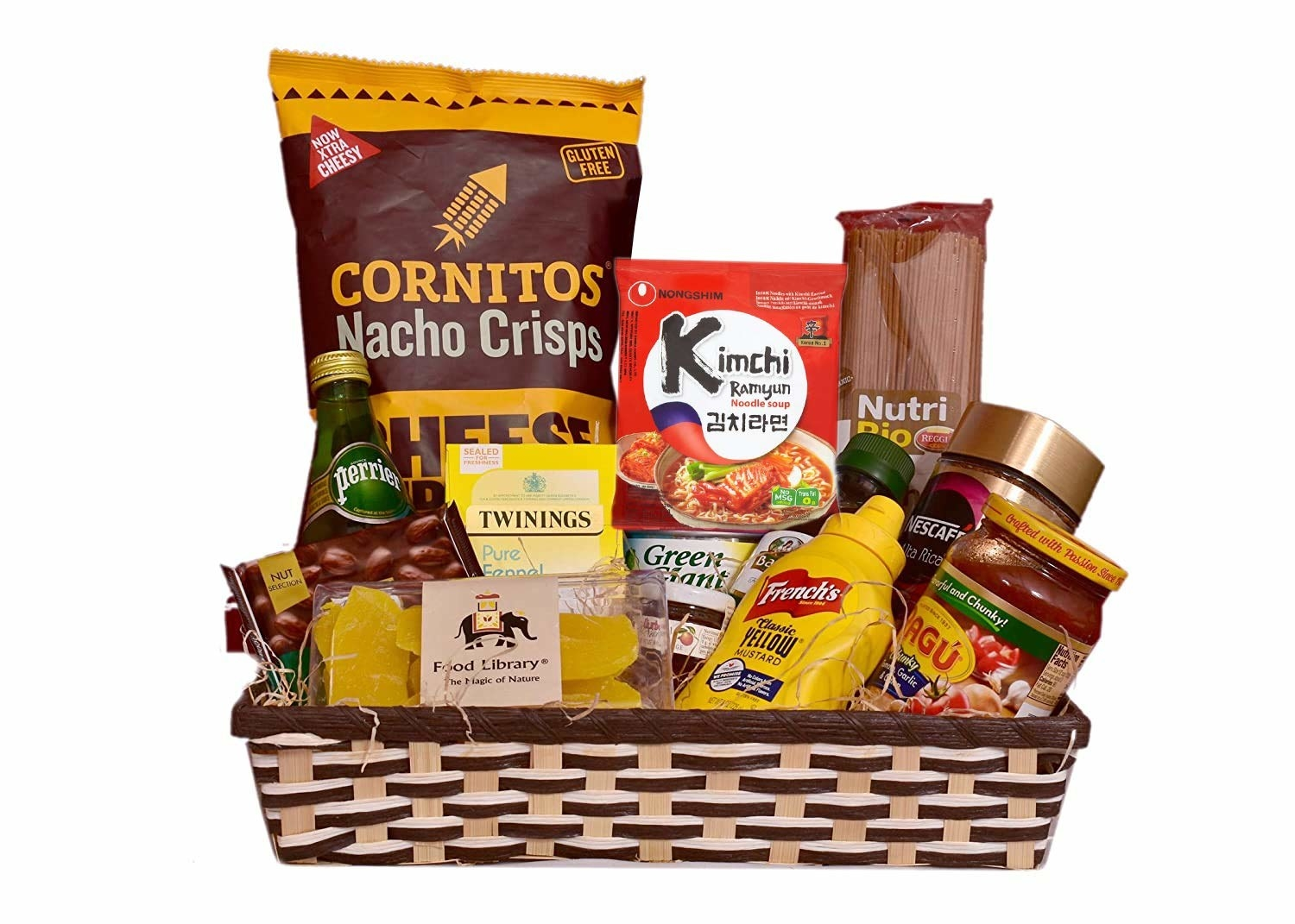 A snack hamper containing chips, pasta, ramen, chocolates, tea, coffee, and various sauces.