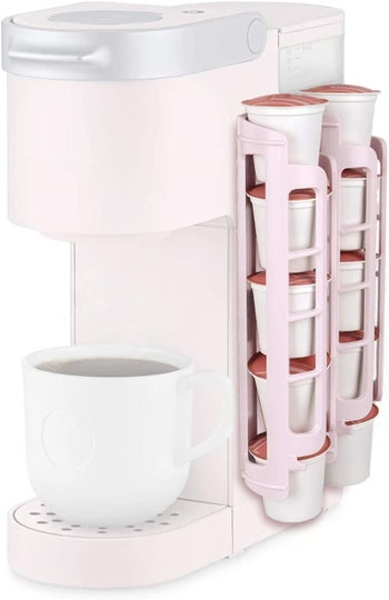 The pink dispenser which hold 10 coffee pods