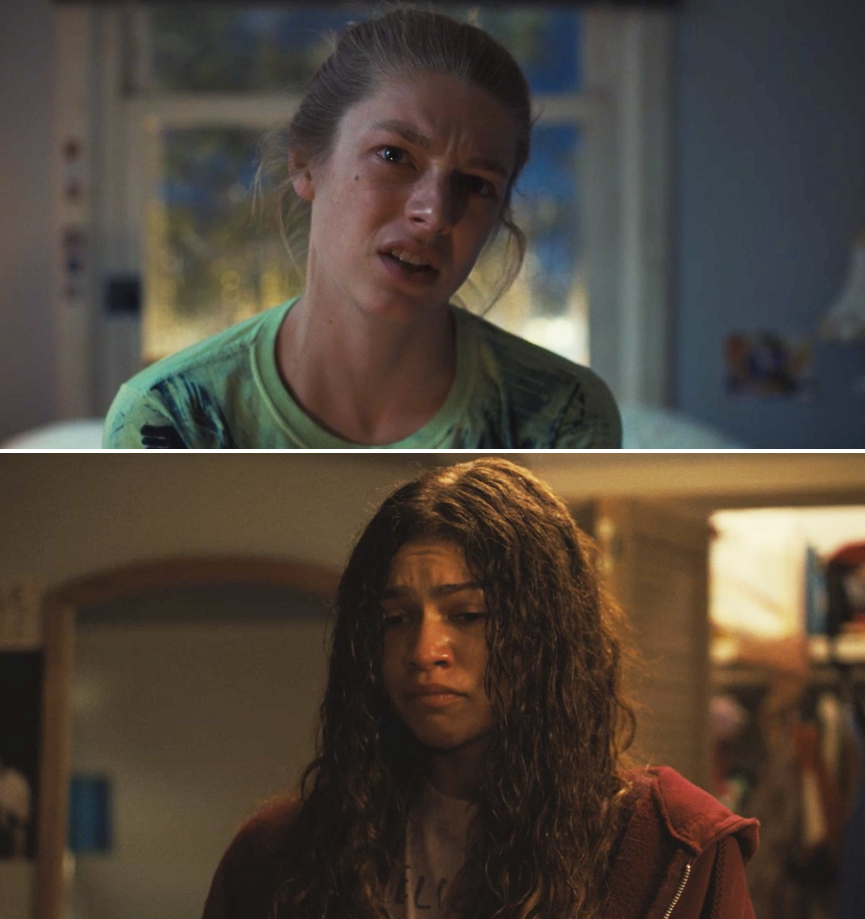 Jules and Rue looking at each other with tears in their eyes