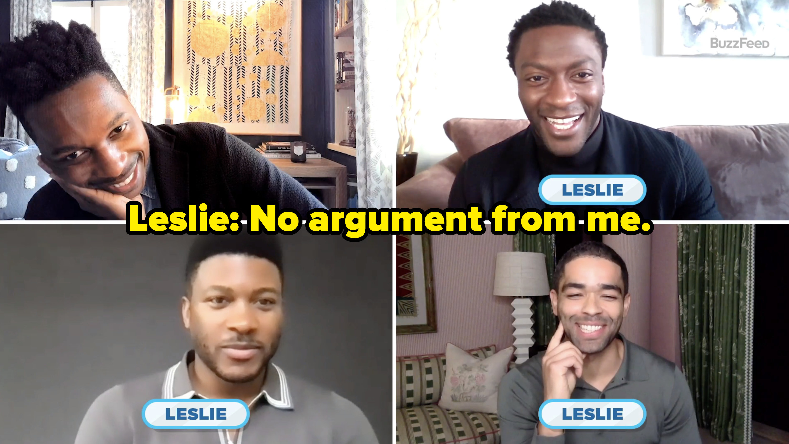 "Leslie says ""No arguments from me"""