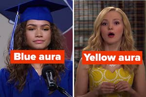"""Zendaya is on the left labeled, """"Blue aura"""" with Dove Cameron on the right labeled, """"Yellow aura"""""""