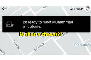 """Is that a threat?"" next to ""Be ready to meet Muhammed Ali outside."""