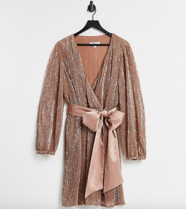 The Ever New Curve sequin wrap mini dress in copper