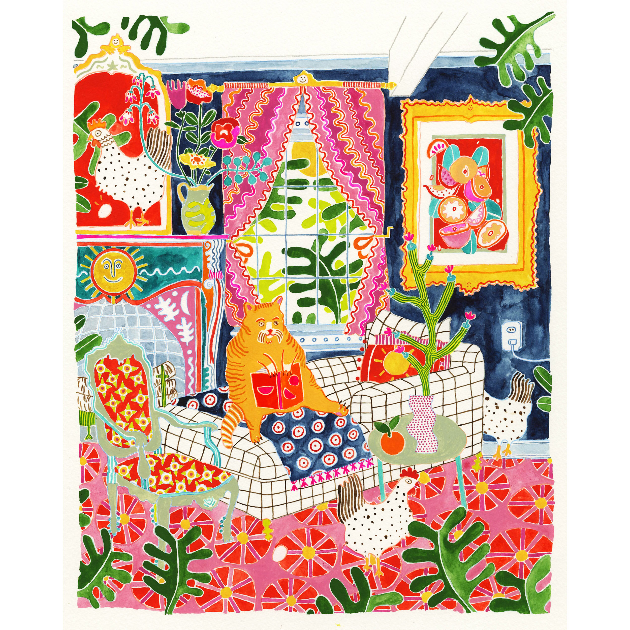 """""""All Together Now"""" by Priscilla Weidlein, a room filled with plants, animals, furniture, and vivid colors"""