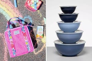 On the left, a pink lunchbox. On the right, blue bowls with lids