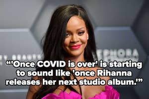 A picture of Rihanna with the text