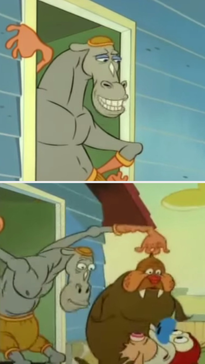 First image: A horse wearing rubber gloves and a rubber hat stands upright against his doorframe. Second image: The horse creepily leans down to look at Ren and Stimpy while holding up a traumatized walrus by his head