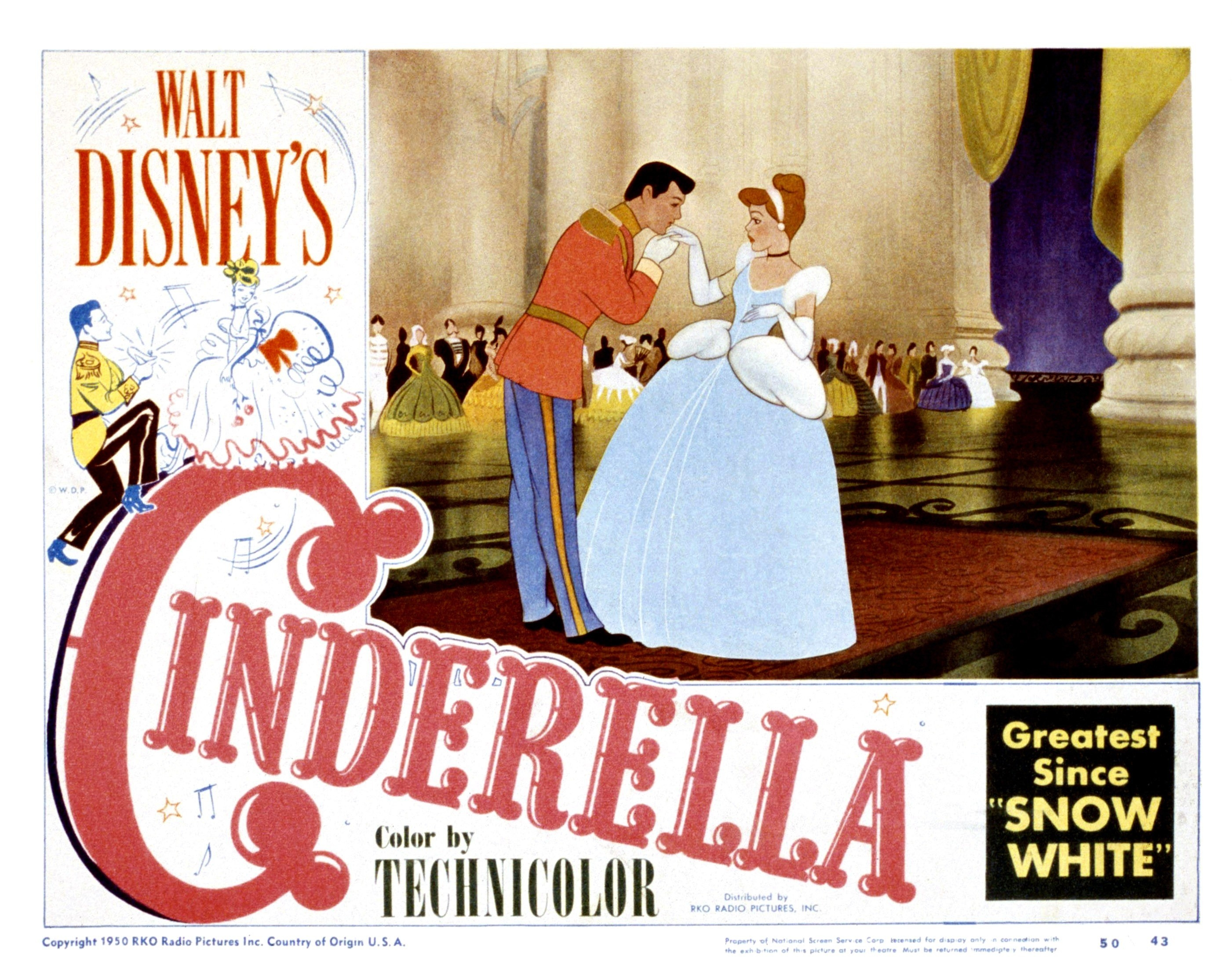 A 1950 lobby card for Cinderella with the greatest since Snow White written on it