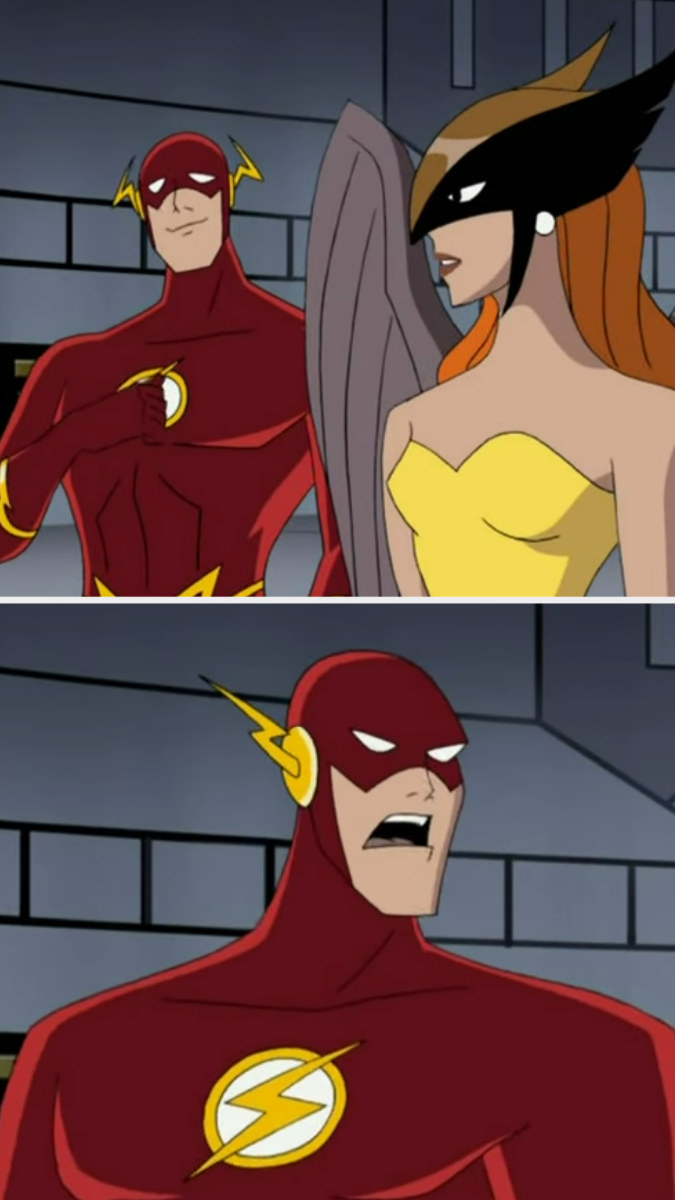 First image: Flash and Hawkgirl talking. Second image: A close-up of Flash's offended expression