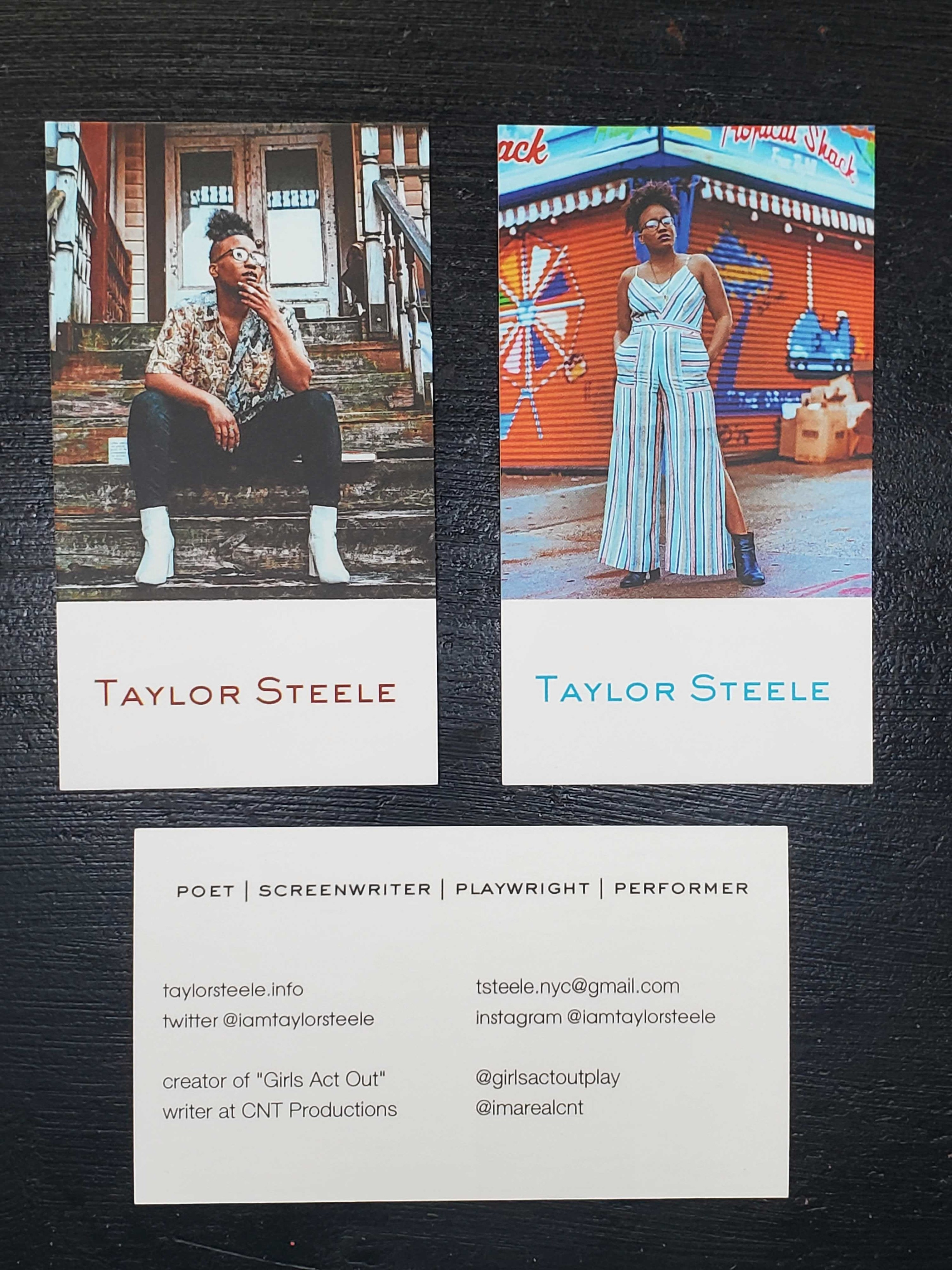 three business cards featuring buzzfeed writer taylor steele and her contact information