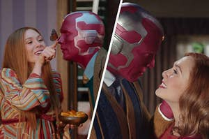 Wanda touches a butterfly on Vision's nose next to them lovingly gazing at each other