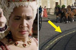Queen Charlotte looking perturbed; A yellow street line in Bridgeton