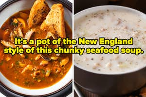 A bowl of octopus soup and a bowl of clam chowder.