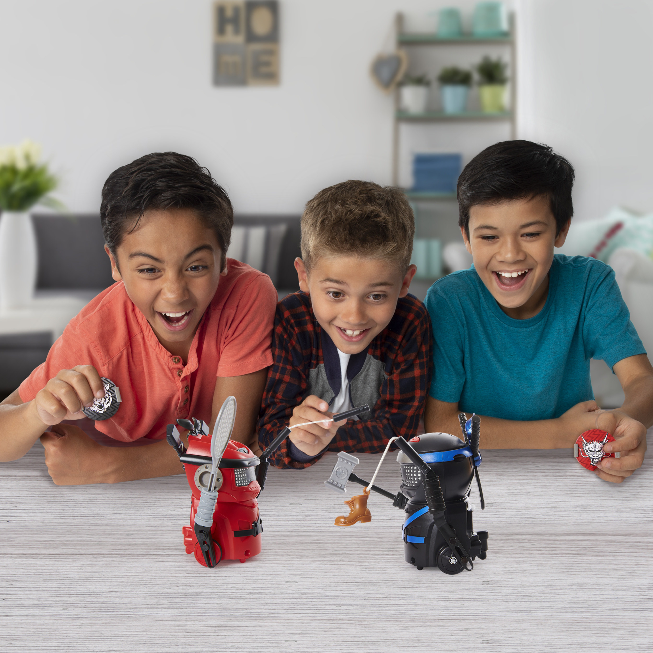 Children playing with the robot toys