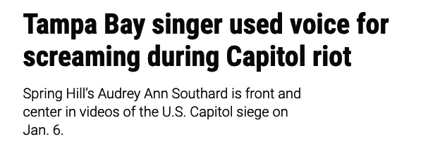 Tampa Bay singer used voice for screaming during Capitol riot