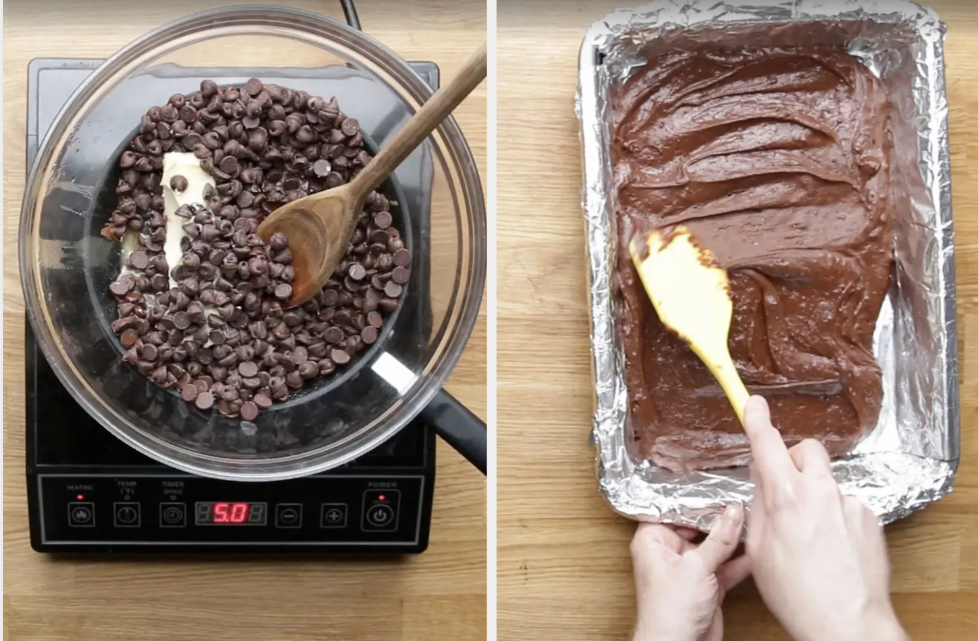 Chocolate being melted over a burner, next brownie batter being poured into a pan
