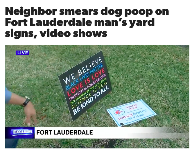 Neighbor smears dog poop on Fort Lauderdale man's yard signs, video shows