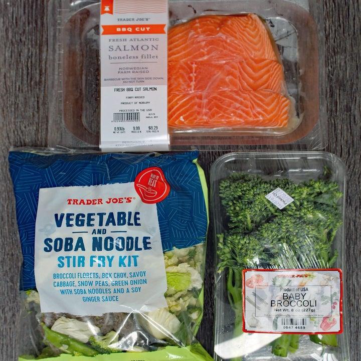 Salmon, vegetable soba noodle stir-fry kit, and broccolini.