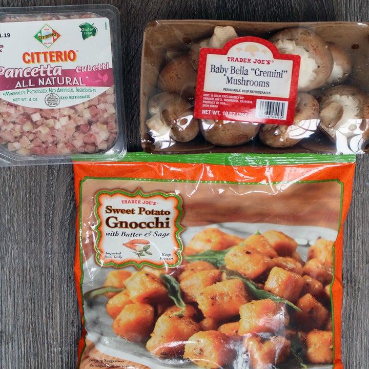 Sweet potato gnocchi, baby bella mushrooms, and pancetta.