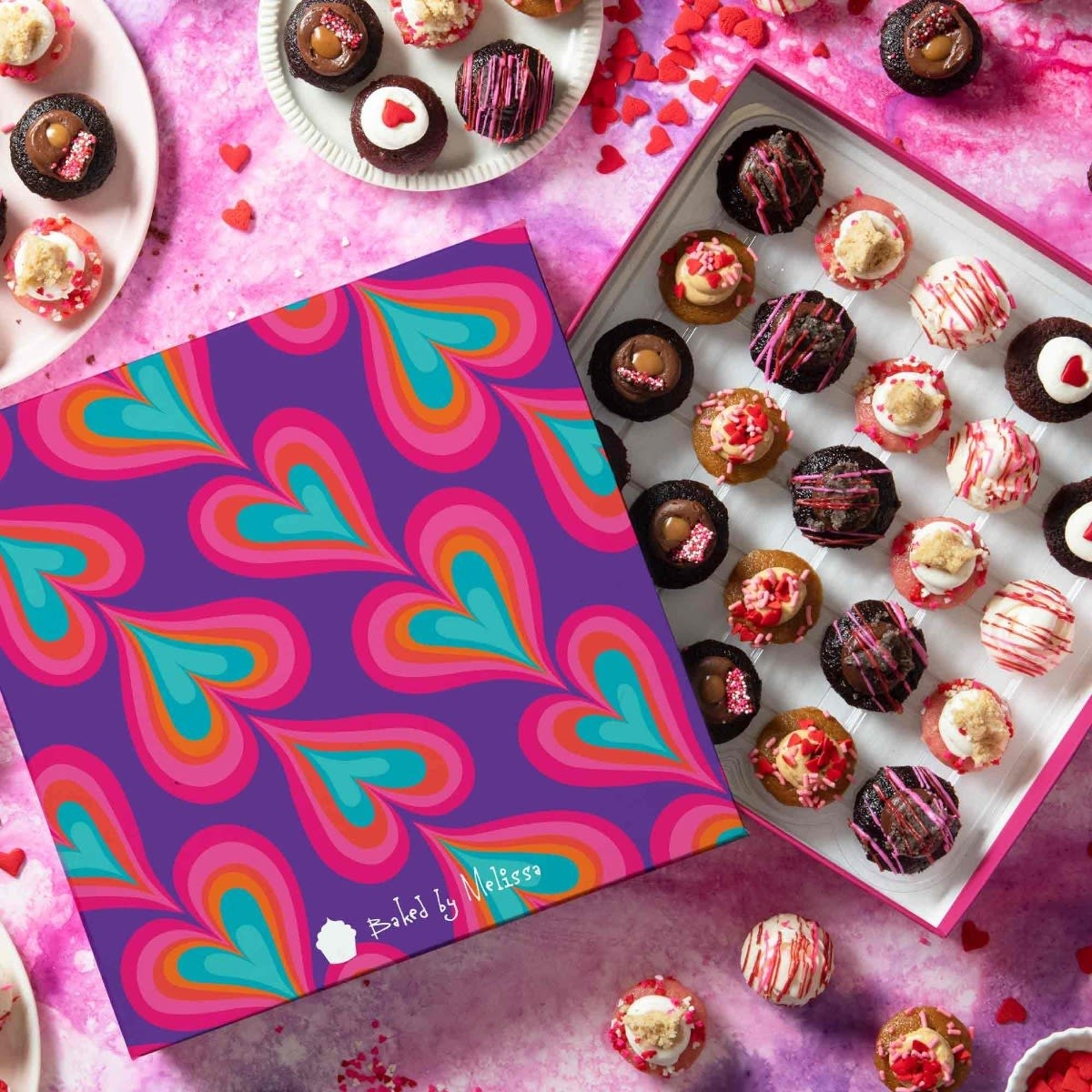 the valentine's day themed box of cupcakes