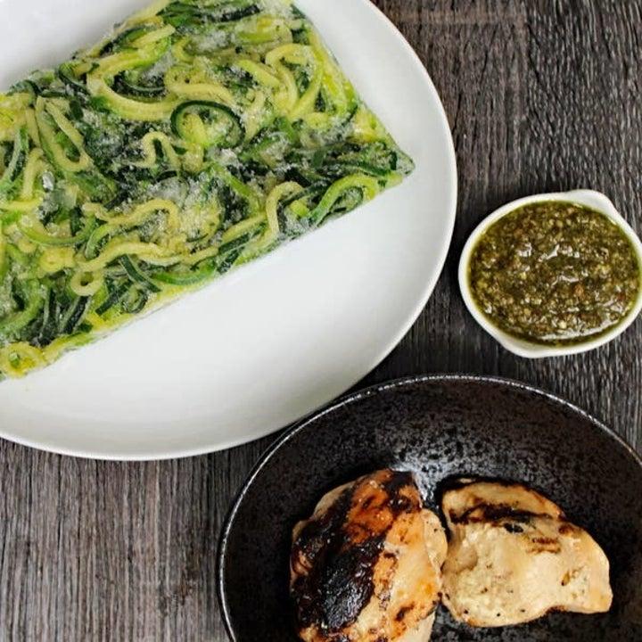 Frozen zucchini noodles, grilled chicken, and pesto.