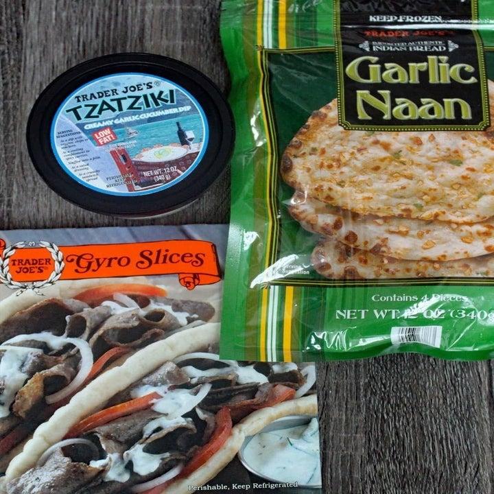 Garlic naan, gyro slices, and tzatziki.