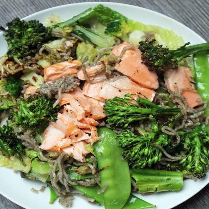 Soba salad and broccoli with salmon.
