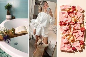 A custom bath caddy; a reviewer wearing a white loungewear set; a strawberry Compartes chocolate bar