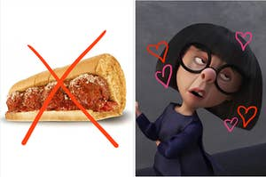 a sub sandwich with an X through it next to an animated woman with short bangs and chin length hair