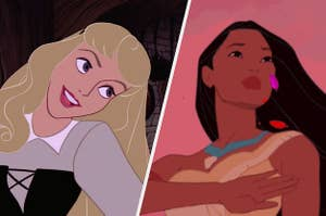 Aurora from sleeping beauty on the left and pocahontas on the right