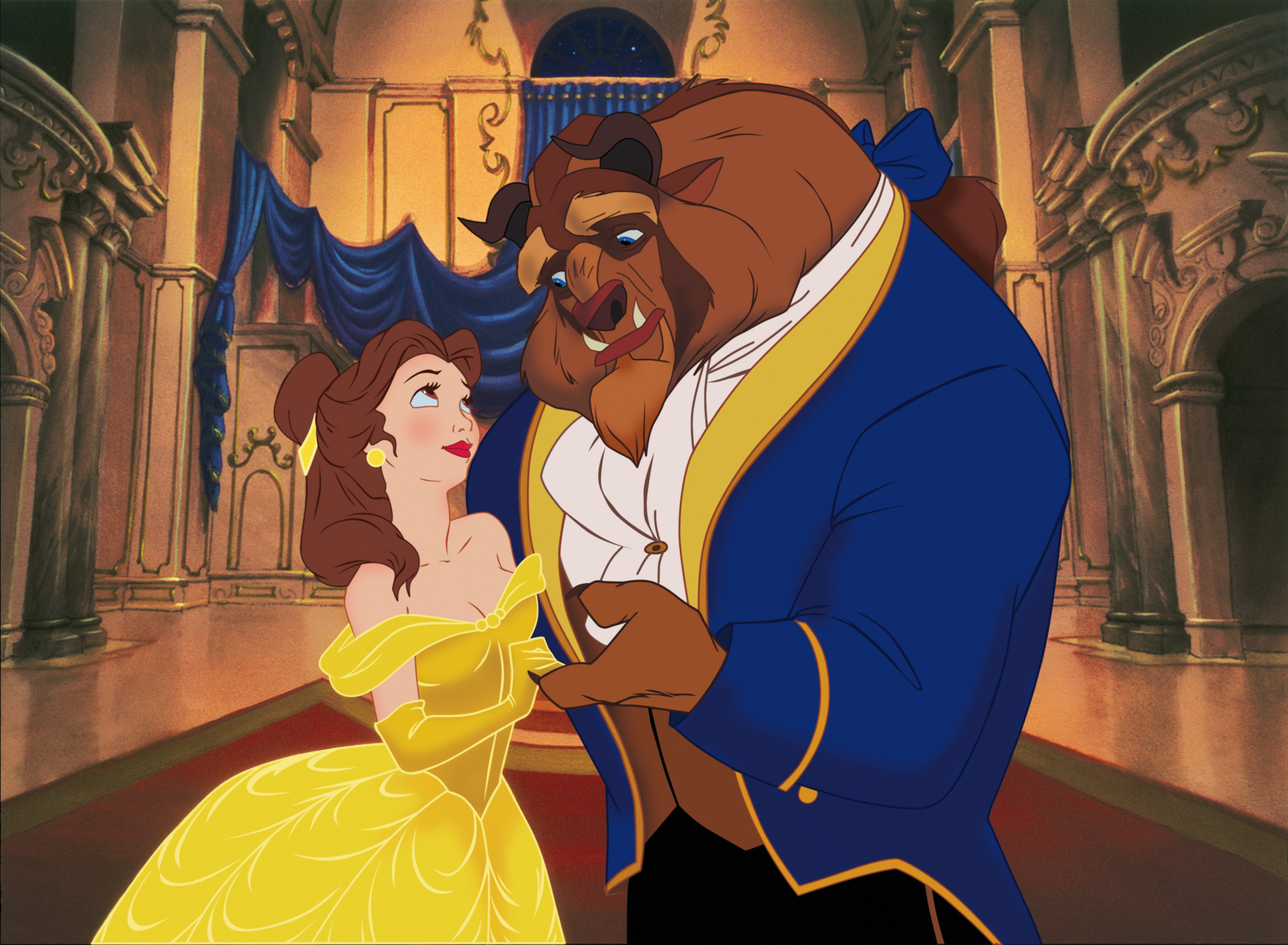 A publicity image of Belle and Beast from the ballroom scene