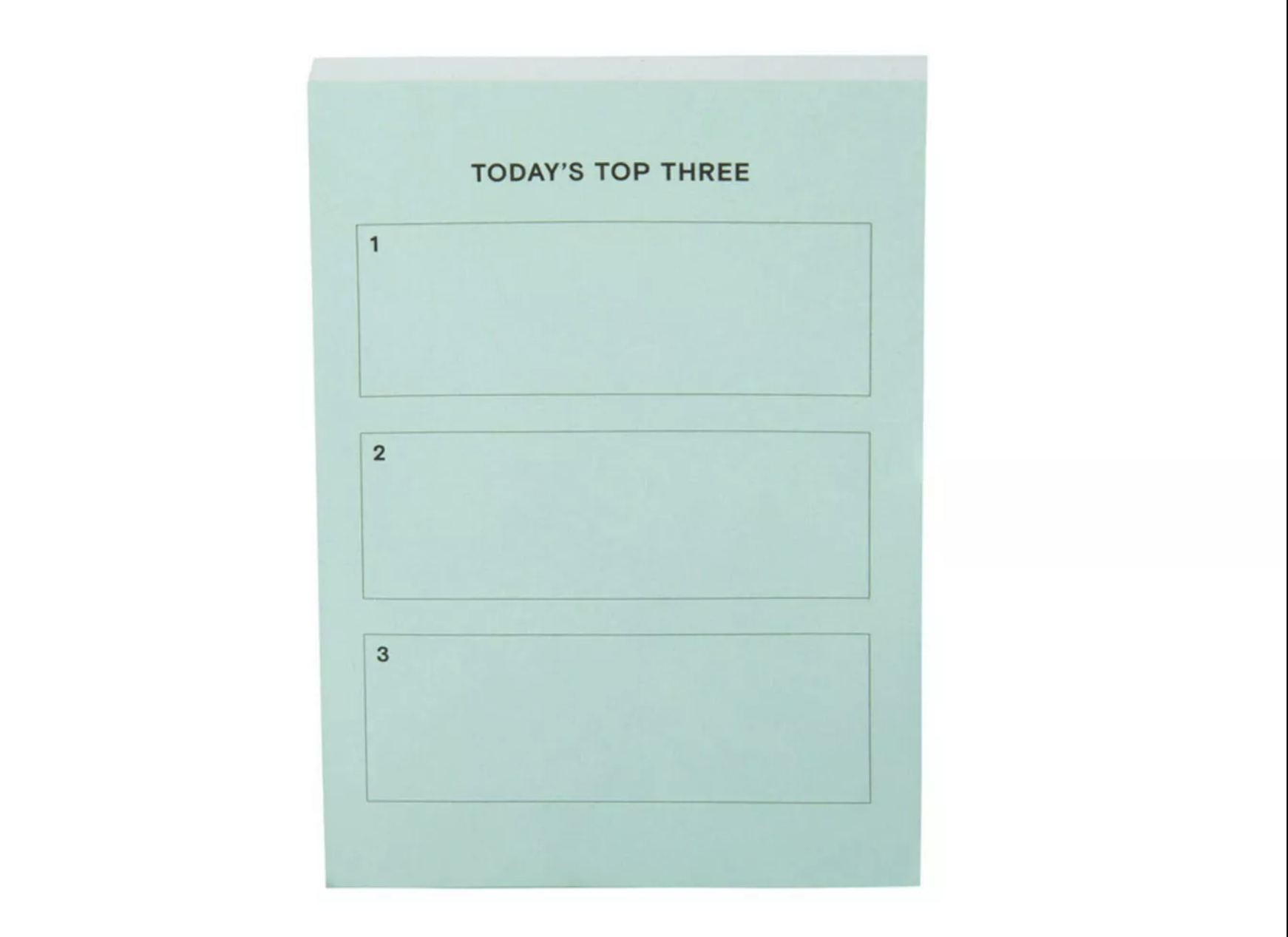 "The turquoise planner with space to write ""today's top three"""