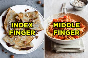 "On the left, some crêpes filled with Nutella labeled ""index finger,"" and on the right, a bowl of spaghetti bolognese labeled ""middle finger"""