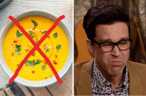 A crossed-out vegetable soup next to a grossed-out reaction
